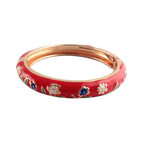 UJOY Childrens Bangles Cloisonne Jewelry Indian Gold Plated Enamel Flower Bracelets Opening Hinged with Box 55D13 ()