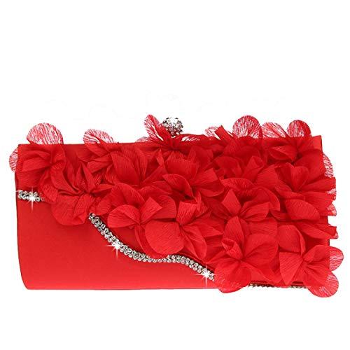 Main De dembrayage Fleur Parti Diamants Mariage Sac Soirée À Petit Sacs Rouge Femmes Paillettes Luckywe HU71q1