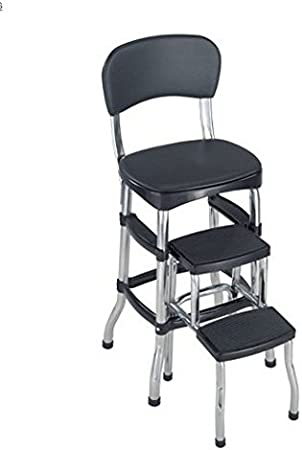 Retro Kitchen Step Stool Counter Chairs Folding- This Counter Seat Brings  Back The 60\'s Look Feel- Folding Step Ladder Makes This The Perfect Ladder  ...