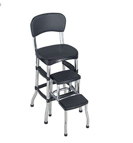 Price comparison product image Kitchen Step Stool Counter Chairs Folding- This Counter Seat Brings Back the 60's Retro Look Feel- Folding Step Ladder Makes This The Perfect Ladder For Home Chores- Comfy Vinyl Padding Chrome Finish