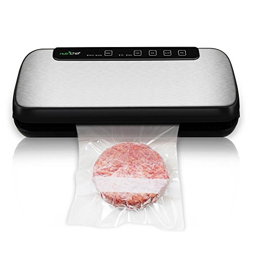 Vacuum Sealer By NutriChef | Automatic Vacuum Air Sealing System For Food Preservation w/ Starter Kit | Compact Design | Lab Tested | Dry & Moist Food Modes | Led Indicator Lights (Stainless Steel) - Sealing Machine