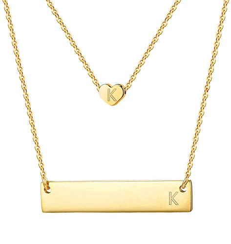 Heart Bar Initial Necklace Layered Pendant Statement Choker Chain for Women Girl K 2pcs Gold Tone ()