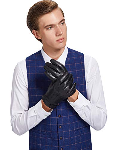 Sheeper Men's Touchscreen Texting Genuine Leather Driving Gloves Motorcycle Gloves (Black) M by Sheeper