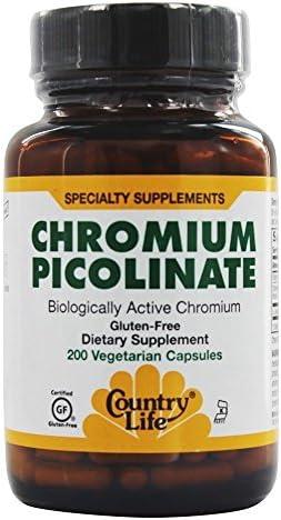 Country Life Chromium Picolinate, 200 mcg - 200 Vegetarian Capsules