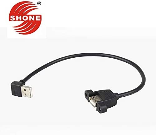 Cable Length: 2PCS, Color: Black Cables USB2.0 Male to Female Extension Cord with Ear Straight Bend 90 Degree Elbow Extension Cable Data line 0.3 m