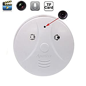 Aperfect 8GB Hidden Camera Smoke Detector Motion Detection Activated Audio Recording Digital Video Recorder Mini DV Camcorder