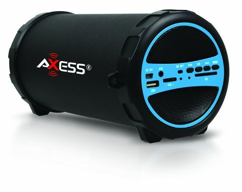 AXESS SPBT1031BL Portable Bluetooth Indoor/Outdoor 2.1 Hi-Fi Cylinder Loud Speaker with Built-In 3 Sub and SD Card, USB, AUX Inputs in Blue