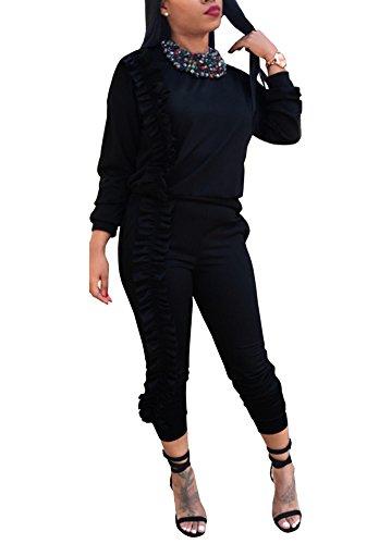 Mojessy Women's Ruffled Outfits Long Sleeve Shirt + Pencil Pants Set Sweatsuits Tracksuits Clubwear Large Black by Mojessy