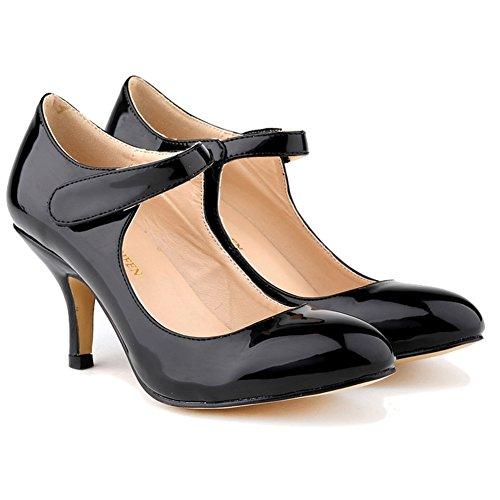 Loslandifen Mesdames Mary Jane Mi-talons Occasionnels Cheville Sangle Travail Pompe Chaussures Noir