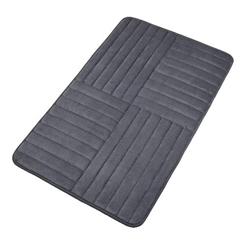 Elegant Bath Mat Soft Bathroom Rugs Non-Slip Rubber Shower Rugs Comfortable Coral Velvet Bathroom Mat (20'' x 32'' Alternate Stripe, Gray) by Elegant Carpet
