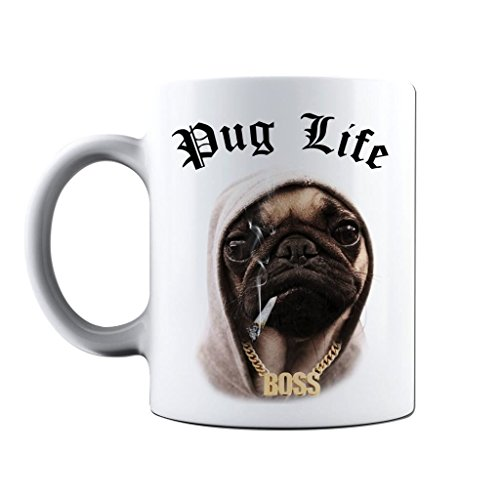(Printed Mug and Coffee Cups Pug Life Funny Mugs Novelty Gift Idea)