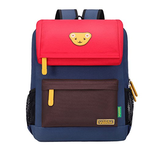 Willikiva Cute Bear Kids School Backpack for Children Elementary School Bags Girls Boys Bookbags (Red/Coffee/Royalblue, Large)