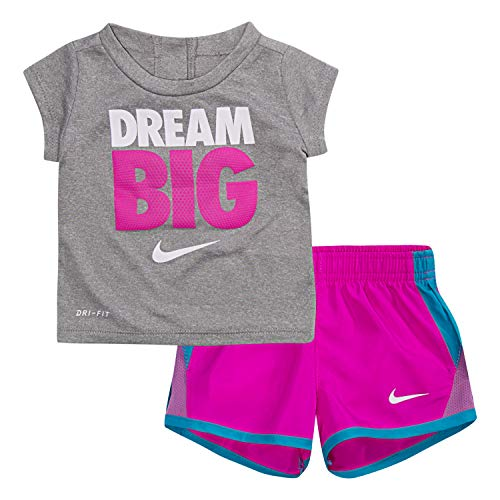 NIKE Children's Apparel Girls' Toddler Graphic T-Shirt and Shorts 2-Piece Outfit Set, Hyper Magenta/Dark Grey Heather, 4T