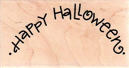 Impression Obsession C21130 Happy Halloween Wood Mounted Rubber Stamp -