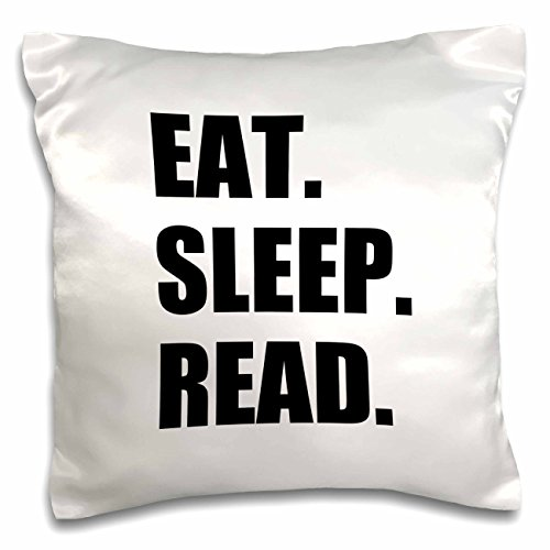 3dRose pc_180434_1 Eat Sleep Row Fun Gift for Rowing Enthusiasts Rower Sport Black Text Pillow Case, 16