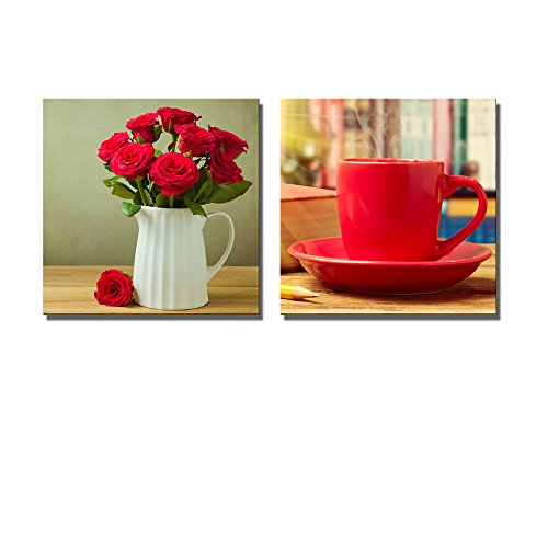 Still Life Red Coffee Cup with Books and Pencils Rose Flower Bouquet in Jug on Wooden Table Wall Decor ation x 2 Panels