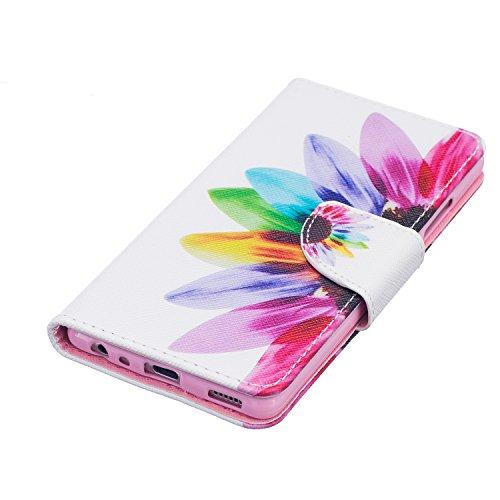 Funda para Huawei P9, Huawei P9Cover, ikasus oso mariposa flores Series–Funda de piel sintética plegable tipo cartera funda de piel con tapa con soporte Soportes de ID de tarjeta de crédito funda p Sunflower