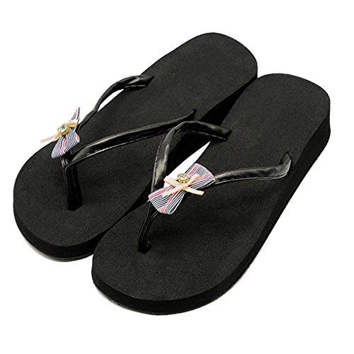 Fiocco Casual Girls Vacanze Con Estate Pantofola 2cm Scarpe Sandalo Spiaggia Clip Piattaforma Ladies Da Zeppa Toe Per Infradito Nere Donna In Flat E Sandali Piatto q0A1wW