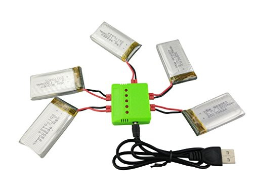 Sea jump accessories four-axis helicopter upgrade parts 5PCS 3.7V 1200mah lithium battery and 5 in 1 charger for SYMA X5HW X5HC remote control helicopter