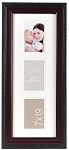 Gallery Solutions 3-Opening Wall Frame with Outer Beading, Matted Opening to Display 3.5 by 5-Inch Photo, Mahogany