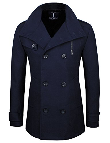 Tom's Ware Mens Stylish Fashion Classic Wool Double Breasted Pea Coat TWCC08-NAVY-US (Us Navy Style Mens Peacoat)