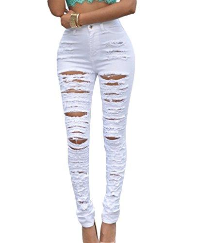 Dooxi Femmes Dcontracte Skinny Stretch Crayon Denim Pantalons lgant Taille Haute Dchir Jeans Jeggings Blanc