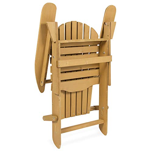 Best Choice Products Folding Wood Adirondack Lounger Chair Accent Furniture for Yard, Patio, Garden w/ Natural Finish, Brown
