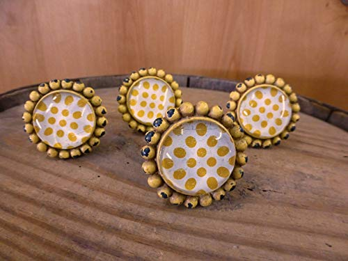 - Rustic & Primitive Crafting Supplies (A) Manufactured to Look Antique 4 Yellow Sunflower Glass Drawer Cabinet PULLS KNOBS Vintage Chic Child Hardware Inspiration for A Project