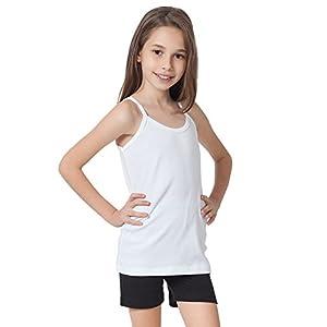 Caomp Girls Camisole 0 Organic Cotton Undershirt Tank Tee Top (Pack of 2) (9-10, Black-White)