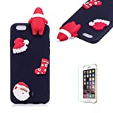 Cute Cartoon Case For iPhone 6 Plus/iPhone 6S Plus,Funyee Stylish 3D Christmas Santa Claus Design Ultra Thin Soft TPU Silicone Case for iPhone 6 Plus/iPhone 6S Plus 5.5 inch,Anti-scratch Rubber Durable Shell Smart Phone Case with Free Screen Protector,Black
