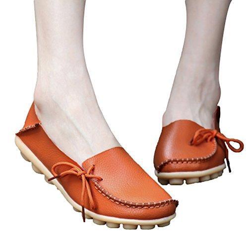 Eeuwige Ster Damesmode Casual Lederen Veterschoenen Mocassins Loafer Flats Slipper Bootschoenen G Oranje
