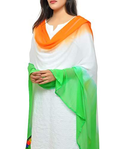 Banjara India Women's Soft Chiffon Solid Dupatta (TRG-Border) Tricolour – SuperTiranga