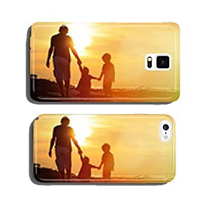 father and two kids walking at sunset cell phone cover case iPhone6 Plus