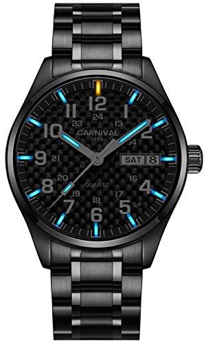 Mens Quartz Watch Military Tritiumgas Luminous Carbon Fiber Black Dial (All Black-Blue Light)