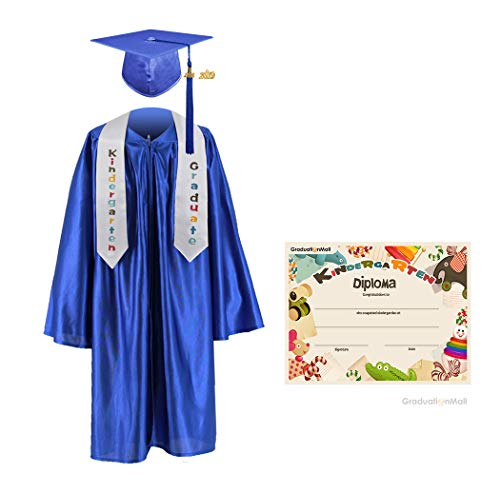 GraduationMall Kindergarten Graduation Cap Gown Stole Package with 2018 Tassel, Certificate (2019 optional) Royal Medium -