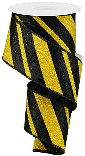 - Wired Ribbon Glittered Black and Yellow Giant Diagonal Lines 2.5
