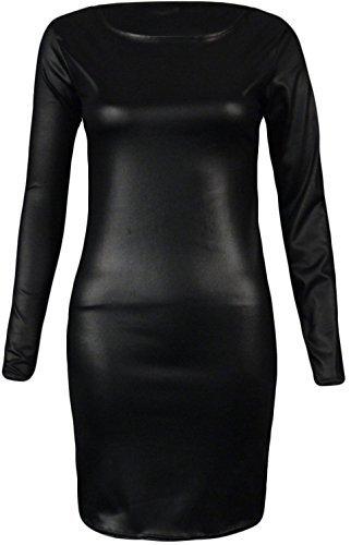 Generic - Damen Frauen Kleid Promi Stil Langärmelig PVC Nasslook Bodycon Midi - Schwarz, M/L