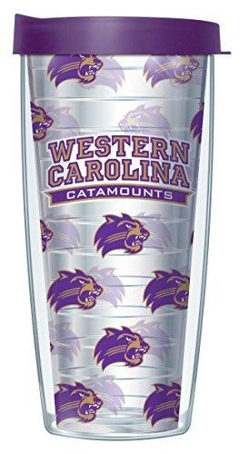 Western Carolina University Repeat Logo Clear 22 Oz Traveler Tumbler Mug with Lid Carolina University Mug