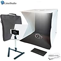 LimoStudio 16 inch (40 x 40 x 40 cm) 70 LED Foldable & Portable Photo Studio Lighting Box Tent Kit with White / Black Background, USB Power Cable, Table Top Mini Stand, Cellphone Clip Holder, AGG2336