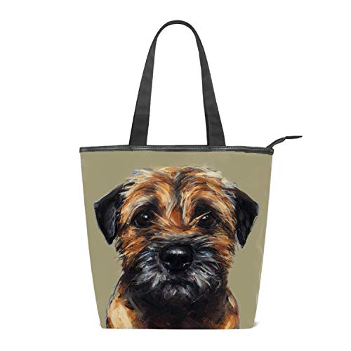 (Grocery Bag Border Terrier Beach Shopping Tote Canvas Multi Purpose 14