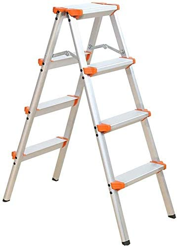 JLDN Escalerilla, 4- Peldaños Escalera Plegable Escalera de Tijera de Aluminio con Apoyabrazos Resistente y Ancha Antideslizantes del hogar,Silver: Amazon.es: Hogar