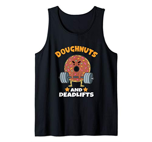 Funny Donuts And Deadlifts Workout Gift Diet Doughnut Gift Tank Top