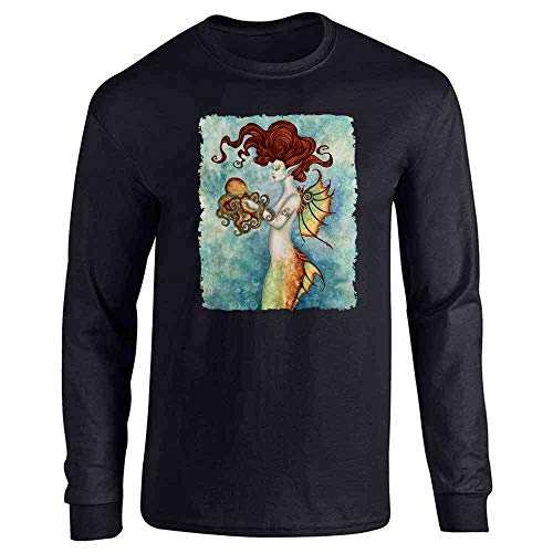 Mermaid and Octopus by Amy Brown Art Black L Long Sleeve T-Shirt