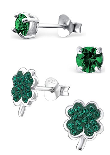 Hypoallergenic Set of 2 Pairs St. Patrick's Day Irish Set, Emerald Green Swarovski Crystal Clover & Round CZ Stud Earrings for Girls (Nickel Free) (4mm Round Clover Earrings)