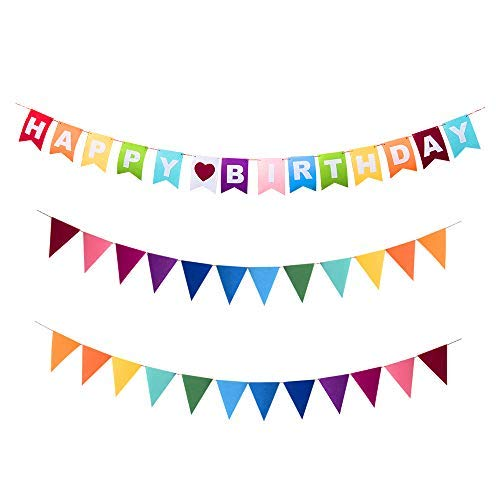 Every Cares Rainbow Felt Fabric Bunting, 35 Pcs/ 24.6 Feet(3 Pack) Decoration Banners for Birthday Party, Baby Shower, Window Decorations and Children's Living Room Decorations