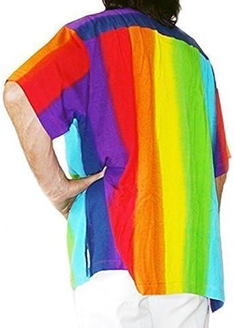 rainbow- de color Hombre Chillón Camisa Hawaiana Xs, 44
