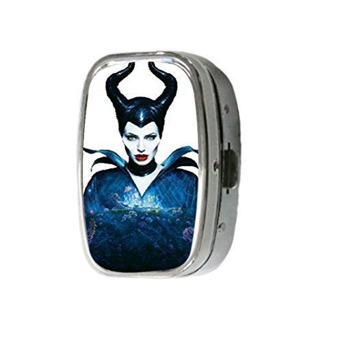 Maleficent Angelina Jolie Horns Fairy Tail Custom Unique Stainless Steel Pill Box Medicine Tablet Holder Decorative Metal Organizer for $<!---->