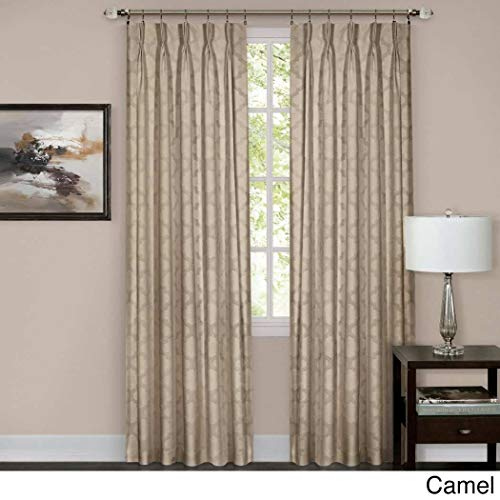 Pinch Pleated Brown Drapes - 1 Piece 84 Inch Camel Color Pinch Pleat Curtain Single Panel, Brown Beige Puckered Pintucks Window Pinch Pleated Drapes, Tufted Texture Pattern Solid Color Stylish Modern Pin Tucks, Polyester
