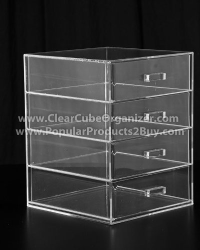 Acrylic Clear Cube Makeup Organizer w/4 Drawers - Style Kardashian Kourtney Shop