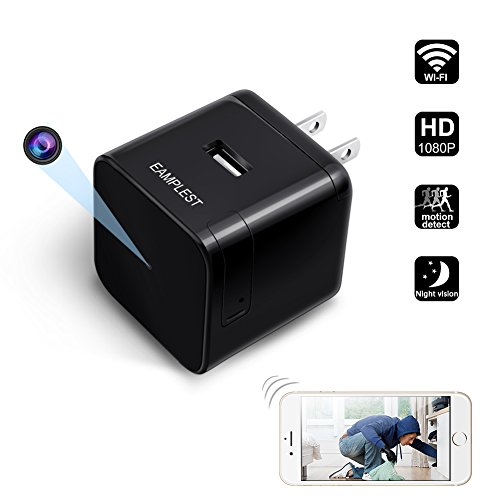Wifi Hidden Spy Camera Eamplest Wireless HD 1080P USB Wall Charger Camera Infrared Night Vision Mini Nanny Video Cam with Motion Detection Remote Real-time Home Security Baby Pet Monitor Live Cam